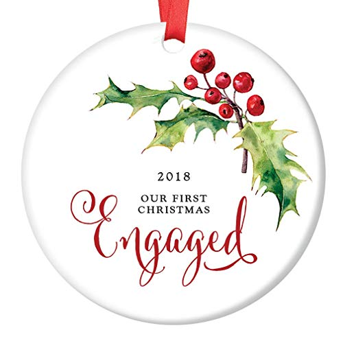 - First Christmas Engaged Ornament 2018 Pretty Holly Berry Ceramic Collectible Engagement Party Present to Future Bride & Groom 3