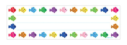 (Hygloss Products Assorted Fish Kids Name Plates for Desks Cubbies Lockers - 9.5 x 2-7/8 Inch, 36 Pack )