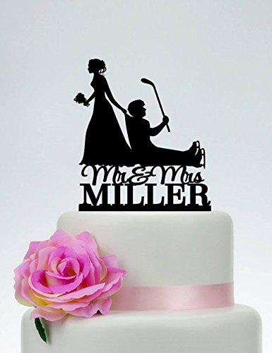 Wedding Cake Topper Hockey Themed Ball Cake Topper Bride Dragging Groom Cake Topper hockey stick cake topper Mr and Mrs Cake Topper ()