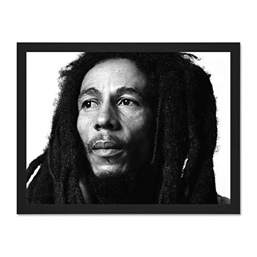 (Doppelganger33 LTD Music Portrait Reggae Legend Bob Marley Large Framed Art Print Poster Wall Decor 18x24 inch Supplied Ready to Hang)