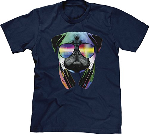 Blittzen Mens T-shirt Pug Sunglasses Headphones, M, Navy - With Pug Sunglasses