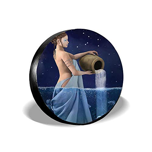 Jackie Prout ss Astrology Aquarius Lady with Pail in The Sea Water Signs Saturn Mystry at Night Stars Blue Dark Blue Tire Cover Spare Wheel Cover Fit Jeep Camper RV SUV Truck 14 15 16 17 inch