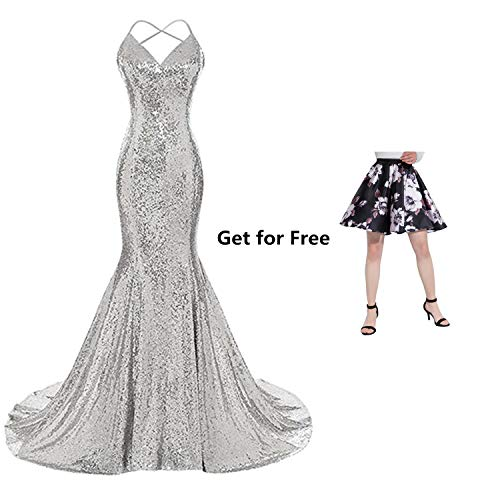 Ruiyuhong Open Low Back Sequin Silver Maxi Long Party Gowns for Women ()