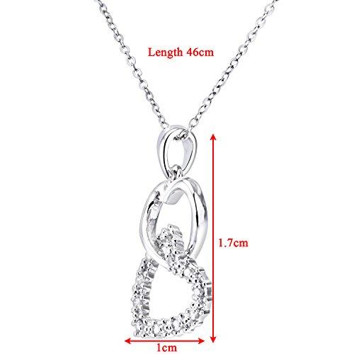 Revoni Bague en or blanc 9carats-Diamant à cœurs Pendentif et chaîne de 46cm