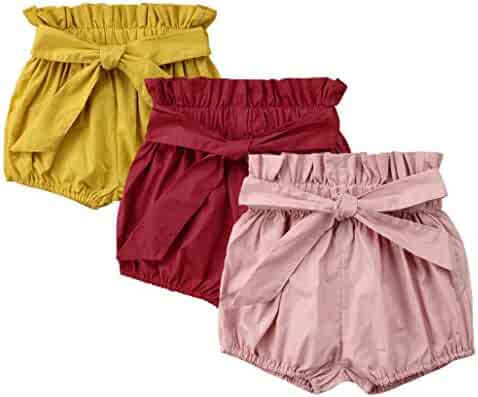 08cb59bd3 Bestime Toddler Girls' Solid Color Bowknot 3-Pack Cotton Shorts Bloomers