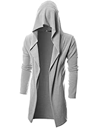 Mens Long Sleeve Draped Lightweight Open Front Longline Hooded Cardigan