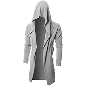 GIVON Mens Long Sleeve Draped Lightweight Open Front Longline Hooded Cardigan 28