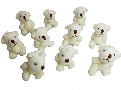 10pc Mini Plush Teddy Bear Craft Doll 4cm - The Toy Explorer Brand Product (Tan)