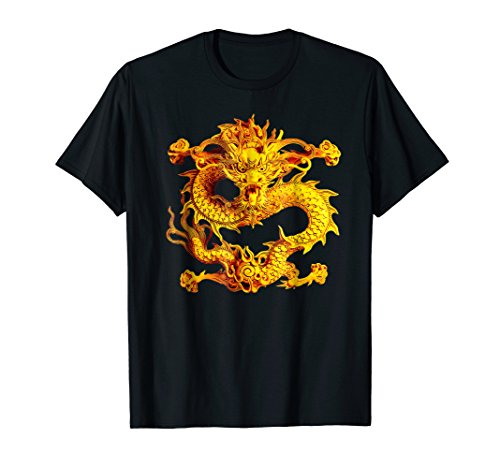 Fearless Golden Chinese Dragon Silhouette T-Shirt 3D Effect