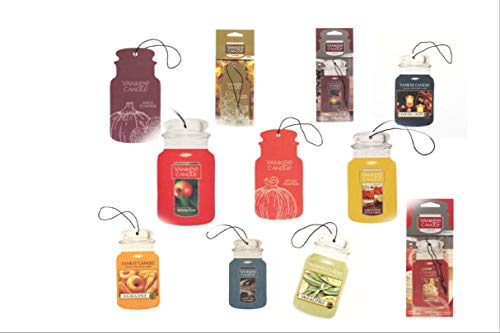 Yankee Candle Car Jars 6 Assorted Variety Scents Paperboard Bundle (Fall and Autumn)