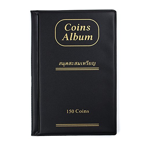 AITIME 150 Pockets Coin Collection Album, Coin Holder Book Suitable for Coin Diameter Less Than 1.65 inches Storage,Black by AITIME