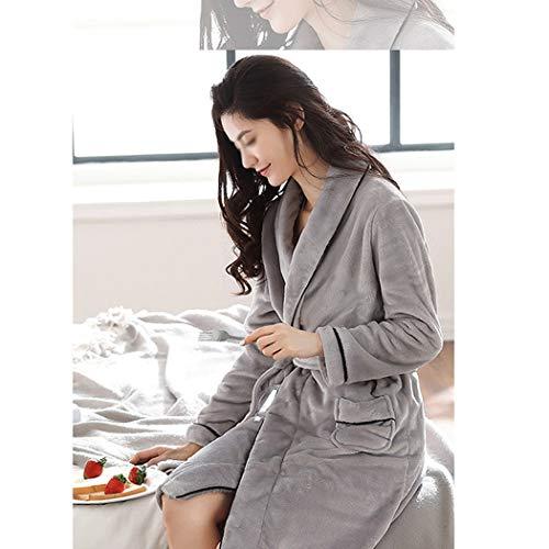 Largos Franela Metro Albornoces De Mujeres Las Dormitorio color Pijamas Gray Pink Impresos Invierno Gruesa Tamaño Gjfeng wX6Rx8nqF