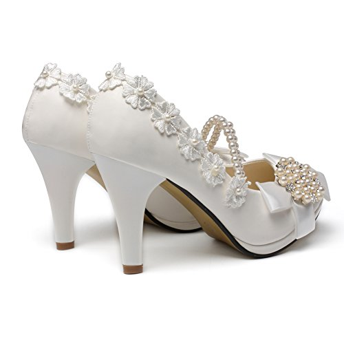 Wedding High Across with Heel Ankle Women's Top getmorebeauty Shoes Pearls 71wOTq