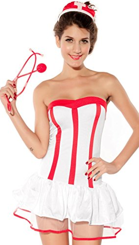 Homemade Minnie Mouse Costumes Women (IF FEEL Women's Sexy Nurse Uniforme Cosplay Costume Set For Halloween (One size, LC8209))