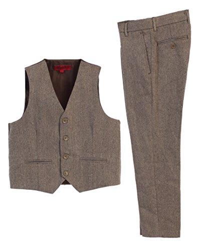 Gioberti Boy's 2 Piece Plaid Vest and Pants Set, Herringbone Khaki, Size 10