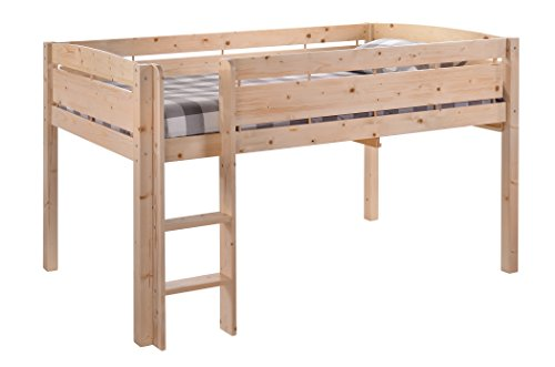 Canwood Whistler Junior Loft Bed, Natural, Twin-Sized Mattress (Not Included), Bunk Bed Alternative, Great for Sleepovers, Underbed Storage/Organization ()