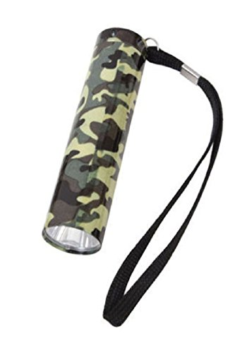 WOODLAND FOREST CAMO SINGLE LED CAMPING SCOUT FLASHLIGHT ALUMINUM BODY 90 LUMENS