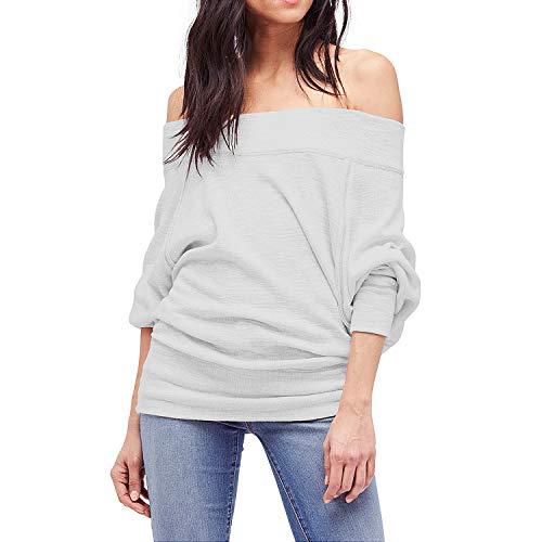 Shy Velvet Women's Off Shoulder Dolman Sleeve Baggy Pullover Sweater Slubbed Knit Jumper Gray
