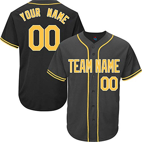 (YNMYS Black Custom Baseball Jersey for Men Women Kids Full Button Mesh Embroidered Team Name & Numbers S-5XL)