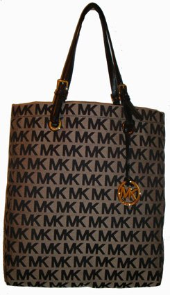 Women's Michael Kors Purse Handbag Tote Beige/Black/Black