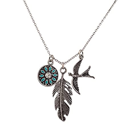 Lux Accessories Synthetic Turquoise Tribal Metal Leaf Bird Dove Charm Pendant Necklace