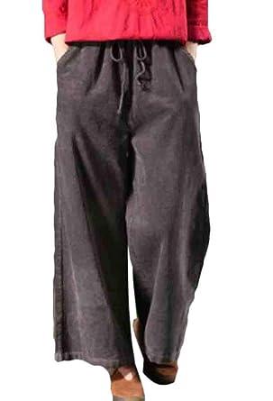 KLJR Pantalones de Pana para Mujer con Pierna Ancha para Combinar ...