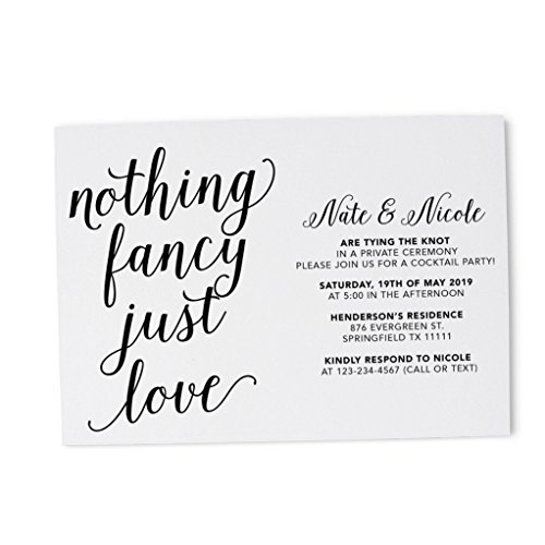 (Casual Wedding Party Invitation Card, Simple Wedding Reception Cards, Post Wedding Party Celebration Cards by LoveAtEverySight- Excited to Invite You Card, Amazing Calligraphic Theme Set of 20)