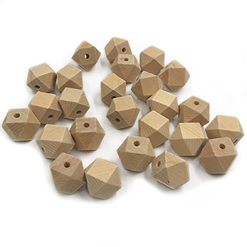 Wendysun 14mm 100pcs Unpainted Natural Hexagon Geometric Polyhedron Faceted Cube Unfinished Wooden Beads DIY Toy Accessories Jewelry Supply&Wood Crafts (Faceted Art)