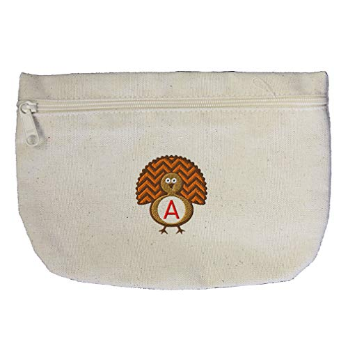 Custom Embroidery Monogram 1 Letter Thanksgiving Turkey Frame Cotton Canvas Makeup Bag Zippered Pouch