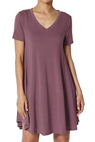 TheMogan Women's V-Neck Short Sleeve Draped Jersey Pocket Tunic Dress Dusty Plum L