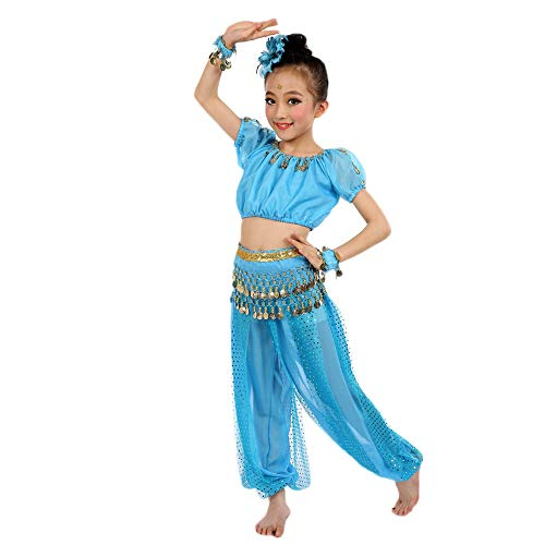 JOFOW Kid Girls Belly Dance Outfit Indian Sequin Sparkle Halter Top Harem Pants Halloween Carnival Festival Costume Set (110CM,Light Blue)