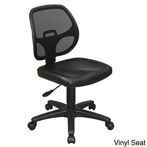 Office Star Mesh Screen Back Armless Task Chair with Padded Vinly Seat, Black