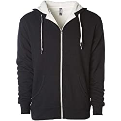 Global Heavyweight Sherpa Lined Zip Up Hoodie for Men Hooded Sweatshirt Fleece Jacket Black XXL