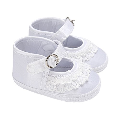 Baby Girls High Top Lace Ruffle Buckle Mary Jane Soft Sole Prewalker Shoes White Size M (Mary High Jane Top)