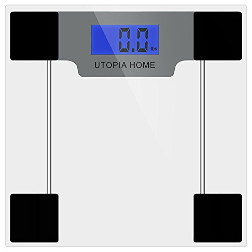 Utopia Home Clear Digital Glass Bathroom Scale with Thick Tempered Glass