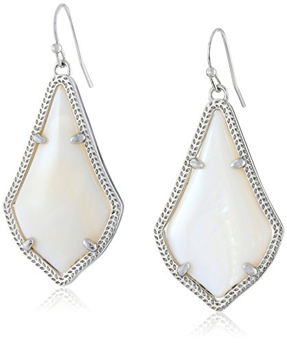 Kendra Scott Signature Alex Earrings in Rhodium Plated and White Mother-of-Pearl ()