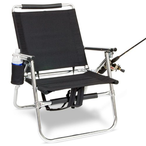 Backpack Fishing Chair with Cup and Rod Holder - Black