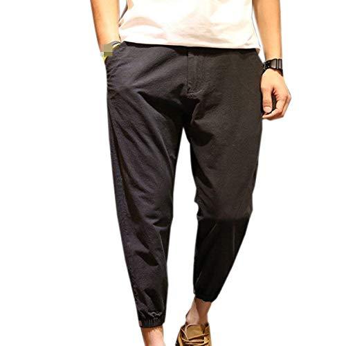 Hommes Bobolily Noir Tendance Jeune Couleur Unie Pantalons Printemps Lâche Longue Loisirs Pour Automne OBOrExTw