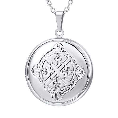 U7 Locket Necklace That Holds Picture Round Shaped Platinum Plated Vintage Egyptian Ankh Cross Pattern Photo Lockets Pendant for Women Girls, Chain 22 Inch