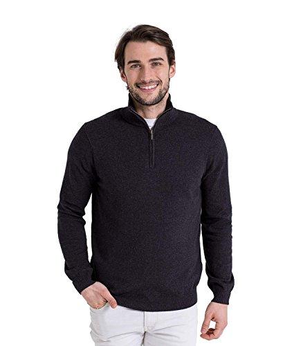 WoolOvers Pull à encolure zippée - Homme - Cachemire & coton Charcoal, S