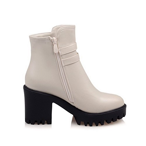 Boots Low Solid Heels Women's Zipper Top PU AgooLar Beige High x7PU1wpPq