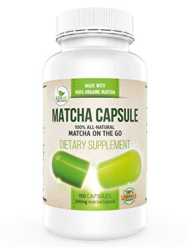 Organic Matcha Capsules - Powerful Antioxidant Energy Booster that Aids Focus - 150 Easy-to-swallow Vegan Green Tea Pills - High in EGCG - 100% Organic Matcha - Not from Extract