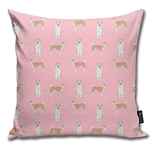 (shirt home Akita Dog Pet Portrait Dog Breeds Pink Comfortable Soft Bed Pillow Case Household Pillow Case Office Bolster 18x18 Inches)