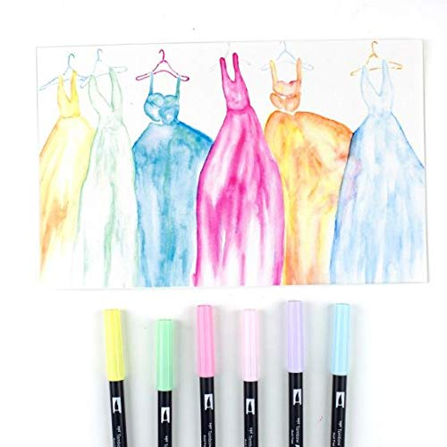 Tombow 56213 Dual Brush Pen Art Markers, Pastel, 6-Pack. Blendable, Brush and Fine Tip Markers