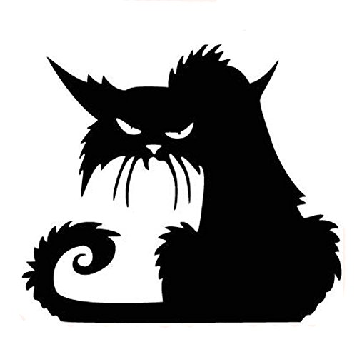 Fangeplus(TM DIY Removable Happy Halloween Black Wild Cat Art Mural Vinyl Waterproof Wall Stickers Kids Room Decor Nursery Decal Sticker Wallpaper 16.5''x14.5''