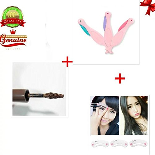 EYX Formula Eyebrow Shaper pack of 3 for Hair Off and Trim,Korean Cosmetic Eyebrow Coffe Gel for Eyebrow Tint Tattoo with Free Gift Eyebrow Stencil Kit