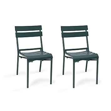 Stuhl Für Terrasse Garten Versailles Lackiertes Aluminium Für Außen  Stapelbar Und Sehr Starke (2