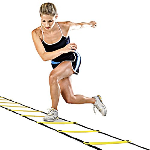 GJT Fitness Agility Ladder Adjustable Durable Training Flat Rung for Soccer,Speed,Football with Carry Bag