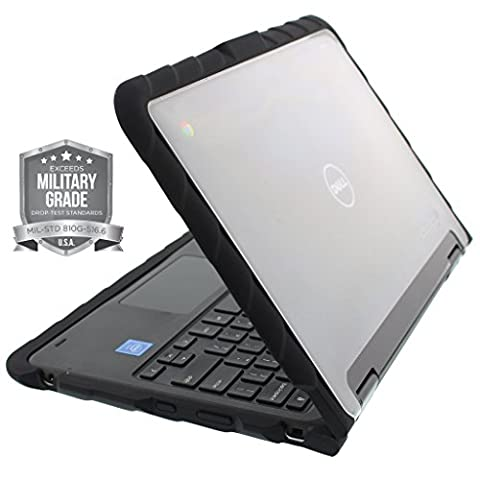 Gumdrop Cases Droptech Chromebook Case for Dell Chromebook 11 3189 Rugged Shock Absorbing Cover Black/Black (Military Grade Laptop Protector)
