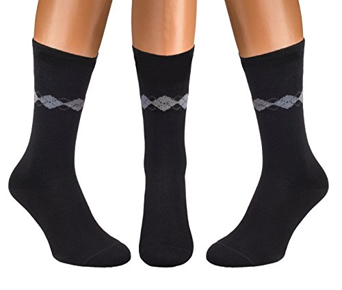 PETANI Argyle Socks, 3 pack Rich European Dress Organic Cotton Socks Men Black (XL)